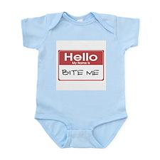 Hello My Name Is Bite Me Infant Creeper