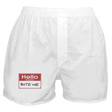 Hello My Name Is Bite Me Boxer Shorts
