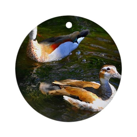 Ducks on the pond ornament round by listing store 71065543 Pond ornaments