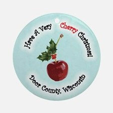 Have A Very Cherry Christmas (blue) Round Ornament