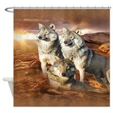 Wolves Trio Shower Curtain