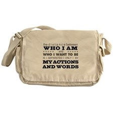 My Actions and Words Grey/Black Messenger Bag