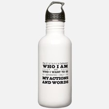 My Actions and Words Grey/Black Water Bottle