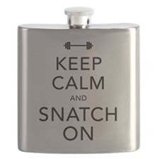 Keep Calm and Snatch On Black Flask