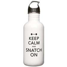 Keep Calm and Snatch On Black Water Bottle