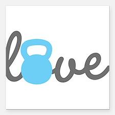 """Love Kettlebell Blue Square Car Magnet 3"""" x 3"""""""