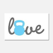 Love Kettlebell Blue Car Magnet 20 x 12