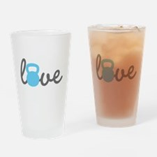 Love Kettlebell Blue Drinking Glass