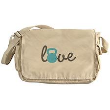 Love Kettlebell Blue Messenger Bag