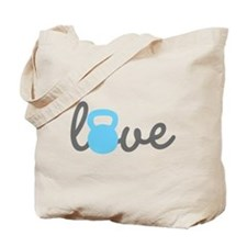 Love Kettlebell Blue Tote Bag