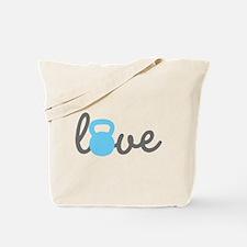 Love Kettlebell Blue Tote Bag