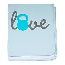 Love Kettlebell Blue baby blanket