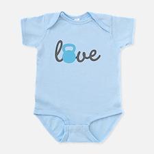 Love Kettlebell Blue Infant Bodysuit