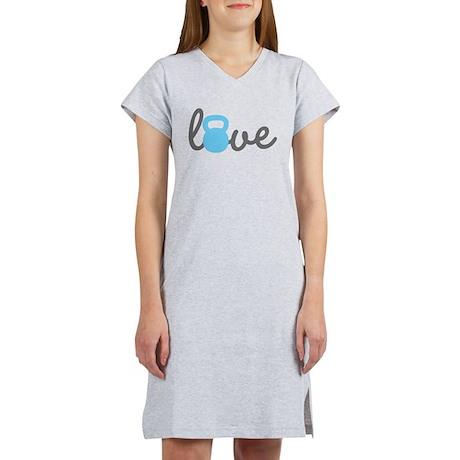 Love Kettlebell Blue Women's Nightshirt