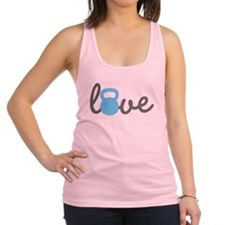 Love Kettlebell Blue Racerback Tank Top