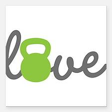 "Love Kettlebell Green Square Car Magnet 3"" x 3"""