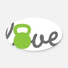 Love Kettlebell Green Oval Car Magnet