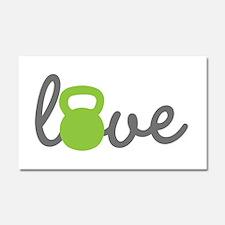 Love Kettlebell Green Car Magnet 20 x 12