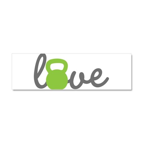 Love Kettlebell Green Car Magnet 10 x 3