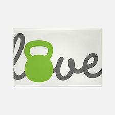 Love Kettlebell Green Rectangle Magnet