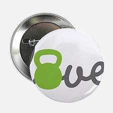 """Love Kettlebell Green 2.25"""" Button (10 pack)"""