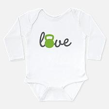 Love Kettlebell Green Long Sleeve Infant Bodysuit