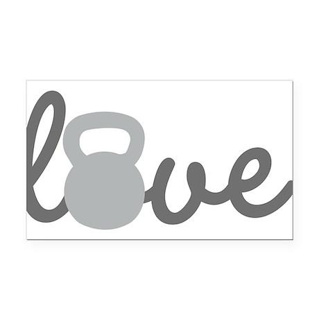 Love Kettlebell Grey Rectangle Car Magnet