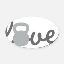 Love Kettlebell Grey Oval Car Magnet