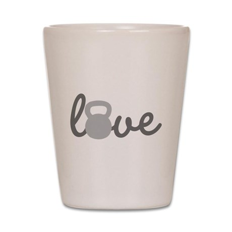 Love Kettlebell Grey Shot Glass