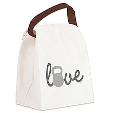 Love Kettlebell Grey Canvas Lunch Bag
