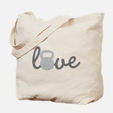 Love Kettlebell Grey Tote Bag