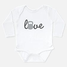 Love Kettlebell Grey Long Sleeve Infant Bodysuit