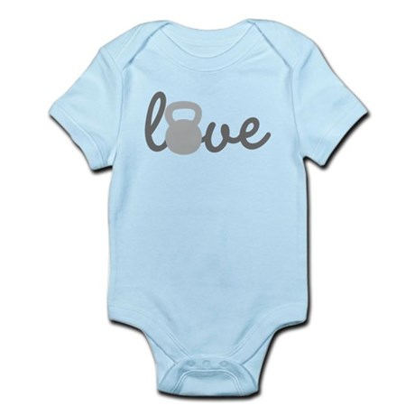 Love Kettlebell Grey Infant Bodysuit