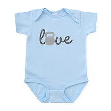 Love Kettlebell Grey Infant Bodysuit