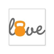 "Love Kettlebell in Orange Square Sticker 3"" x 3"""