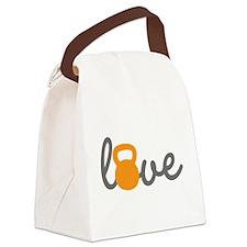Love Kettlebell in Orange Canvas Lunch Bag