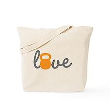 Love Kettlebell in Orange Tote Bag