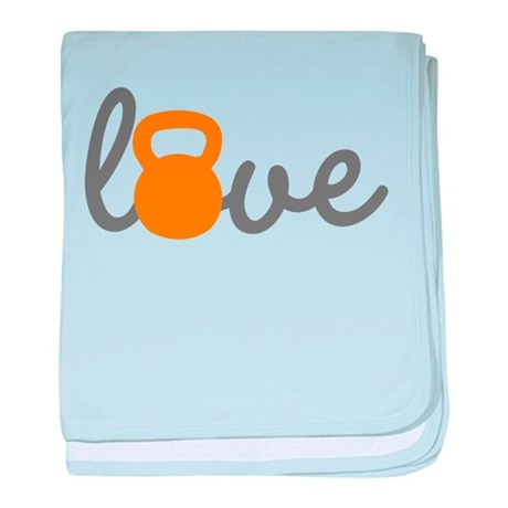 Love Kettlebell in Orange baby blanket