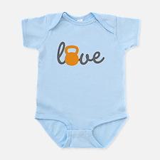 Love Kettlebell in Orange Infant Bodysuit