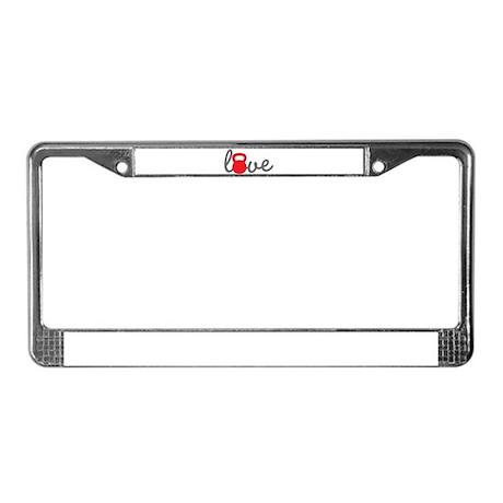 Love Kettlebell in Red License Plate Frame