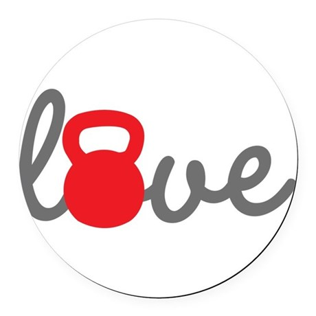 Love Kettlebell in Red Round Car Magnet