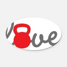 Love Kettlebell in Red Oval Car Magnet