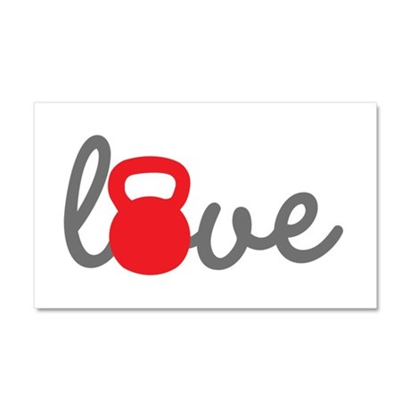 Love Kettlebell in Red Car Magnet 20 x 12