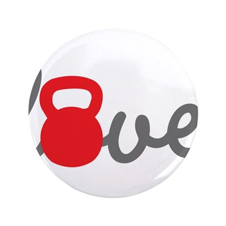 """Love Kettlebell in Red 3.5"""" Button (100 pack)"""