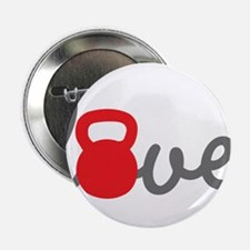 """Love Kettlebell in Red 2.25"""" Button (100 pack)"""