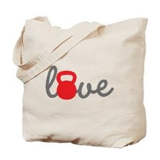 Love Kettlebell in Red Tote Bag