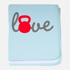Love Kettlebell in Red baby blanket