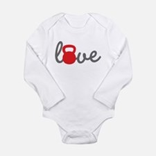 Love Kettlebell in Red Long Sleeve Infant Bodysuit