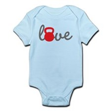 Love Kettlebell in Red Infant Bodysuit