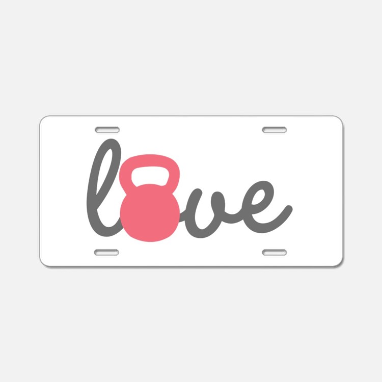 Love Kettlebell in Pink Aluminum License Plate